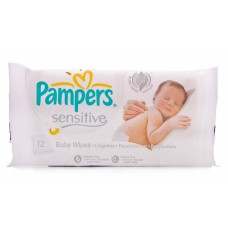Pampers Sensitive Travel Pack Baby Wipes 12